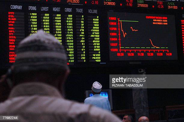 Pakistani stock brokers look at the electronic board at the Karachi Stock Exchange in Karachi 05 November 2007 The KSE 100Index fell by 63544 points...