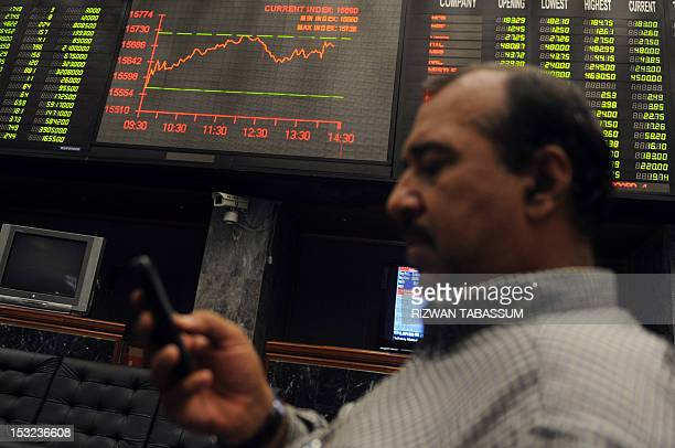A Pakistani stockbroker looks at his mobile phone at the Karachi Stock Exchange in Karachi on October 2 2012 The benchmark KSE100 Index finished at...