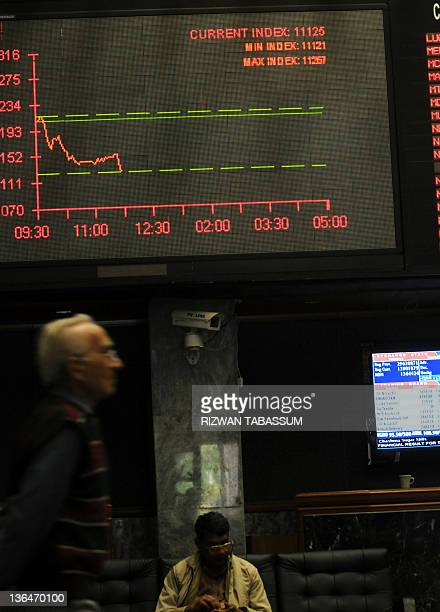A Pakistani stockbroker looks at the latest share prices on a digital board during a trading session at the Karachi Stock Exchange in Karachi on...