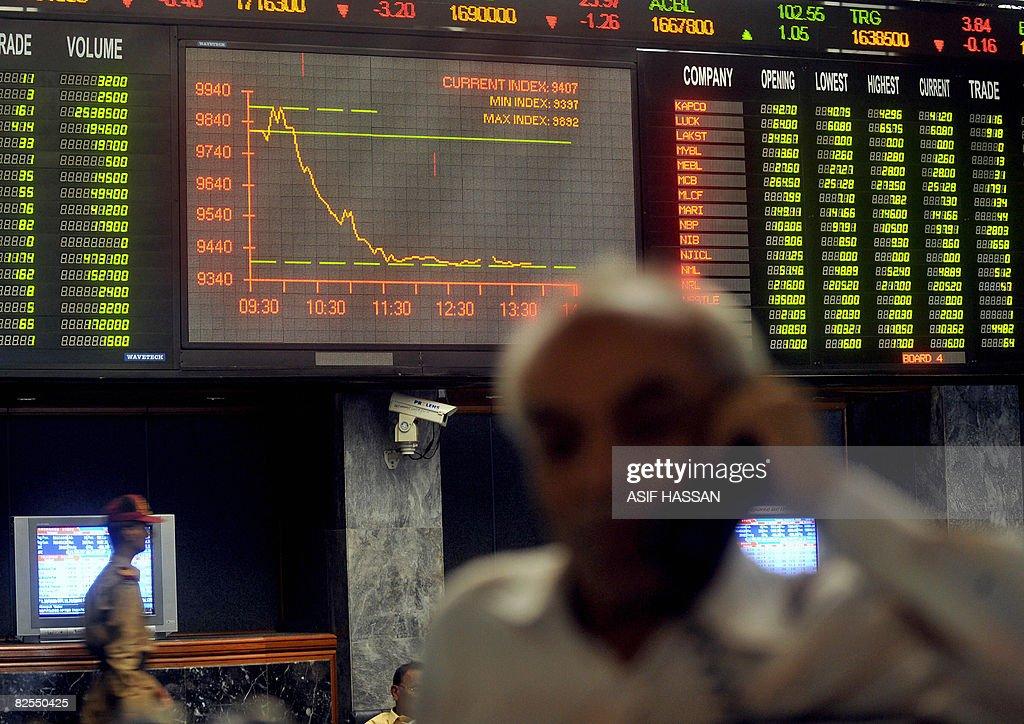 A Pakistani Stockbroker Talks On Telephone During Trading Session At The Karachi Stock Exchange