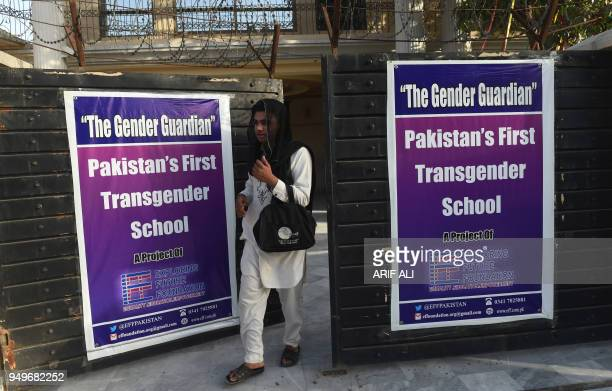 A Pakistani student exit the first transgender school in Lahore on April 21 on the first day of class The school 'The Gender Guardian' was...