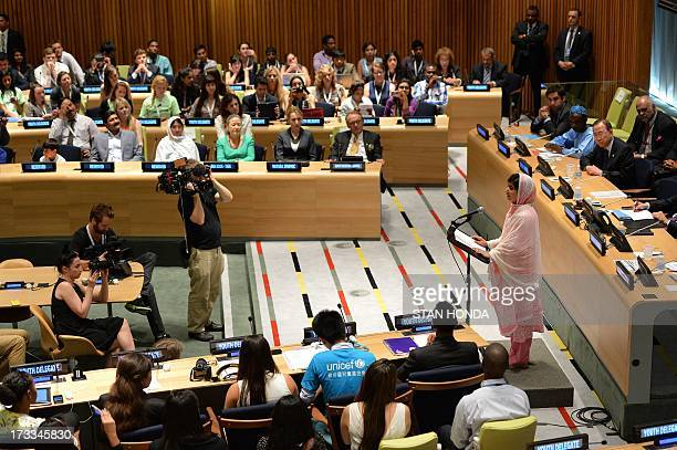 Pakistani student Malala Yousafzai after speaking before the United Nations Youth Assembly July 12 2013 at UN headquarters in New York Yousafzai...