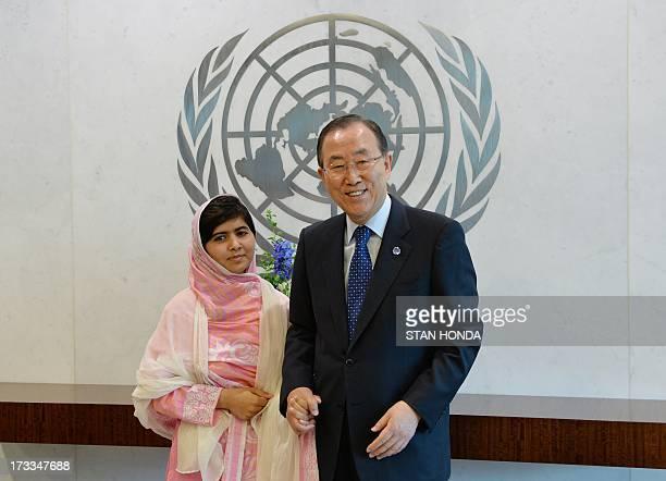 Pakistani student Malala Yousafzai with United Nations Secretary General Ban KiMoon July 12 2013 at UN headquarters in New York Yousafzai became a...