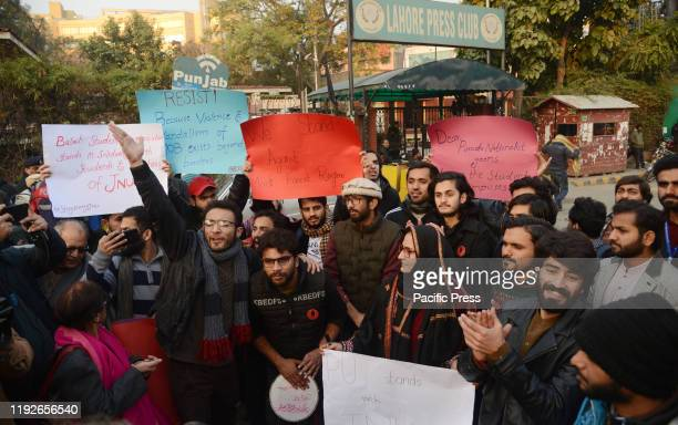 Pakistani students from different Universities hold placards during protest solidarity rally with Jawaharlal Nehru University students in India...
