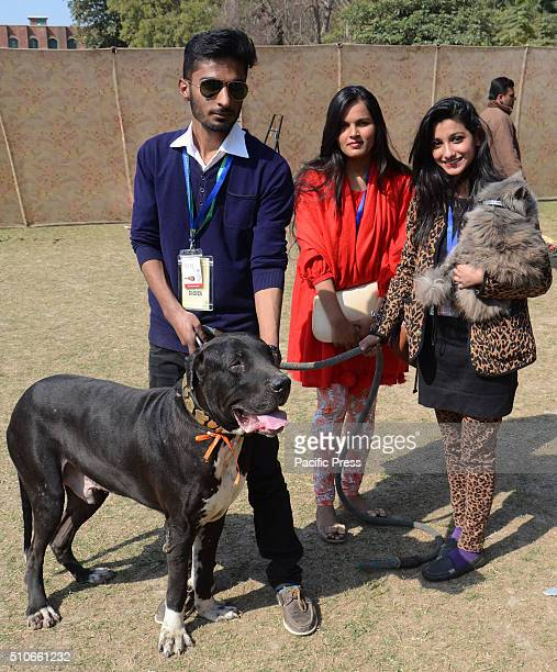 Pakistani students participating at a pet show organized by Forman Christian College .