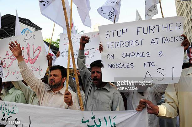 Pakistani Sunni Muslims shout slogans during a protest in Karachi on April 4 2011 against the suicide bomb attacks on a shrine in Dera Ghazi Khan...