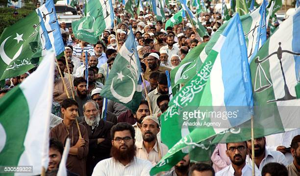 Pakistani supporters of Islamic party Jammat-e-Islami hold a protest against the execution leader of Bangladesh Jamaat-e-Islami Party Motiur Rahman...