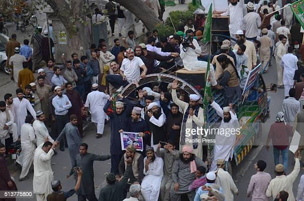 Pakistani supporters of religious group chant slogans against the execution of convicted murderer Mumtaz Qadri Adyala Jail hanged Mumtaz Qadri who...