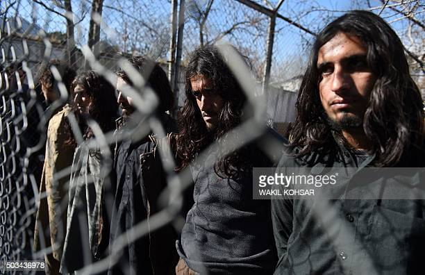 Pakistani Taliban fighters are presented to the media in Kabul on January 5 2016 Nine foreign terrorists were arrested with their weapons by Afghan...