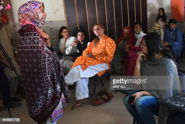 Pakistani teacher Eeman gives a lecture on the first day of the first transgender school in Lahore on April 21 2018 The school 'The Gender Guardian'...