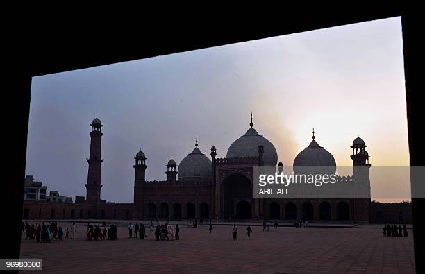 Pakistani tourists leave the Badshahi Mosque in Lahore on February 13 2010 Construction of the Badshahi Mosque was ordered in May 1671 by the sixth...