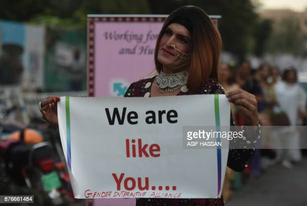 A Pakistani transgender activist poses for a photograph as they take part in a demonstration in Karachi on November 20 2017 The event was held to...