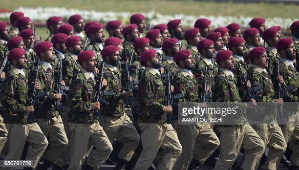 Pakistani troops from the Special Services Group march during a Pakistan Day military parade in Islamabad on March 23 2017 Pakistan National Day...