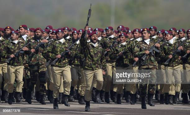 Pakistani troops from the Special Services Group march during the Pakistan Day military parade in Islamabad on March 23 2018 Pakistan National Day...