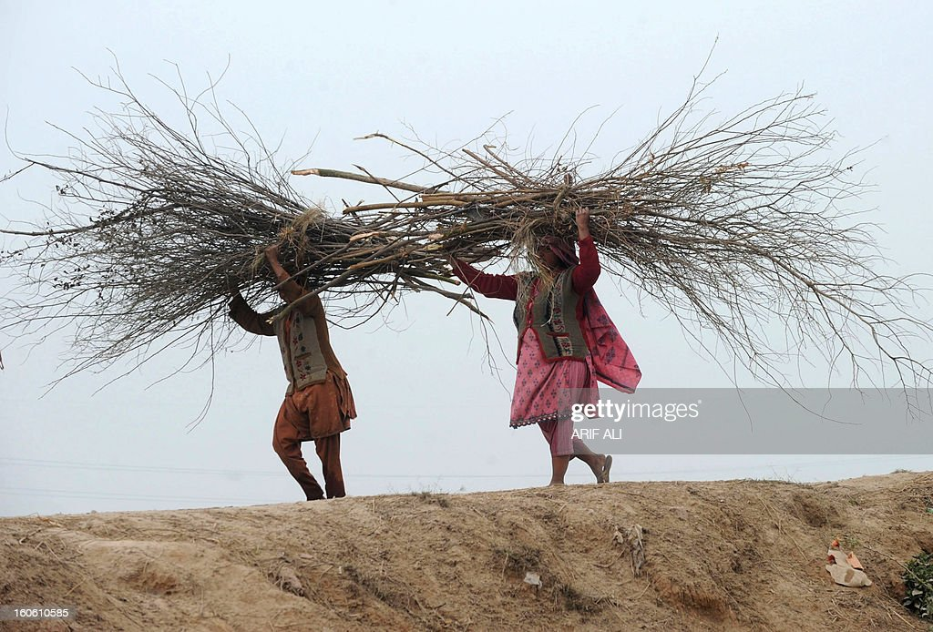 Pakistani women carry fire wood on their heads as they walk back to their home in Lahore on February 3, 2013. Year-on-year inflation stood at 6.9 percent in November, the State Bank of Pakistan said in a statement, a faster fall than had been estimated. Food inflation dropped to 5.3 percent and non-food inflation to 8.1 percent. AFP PHOTO/Arif ALI
