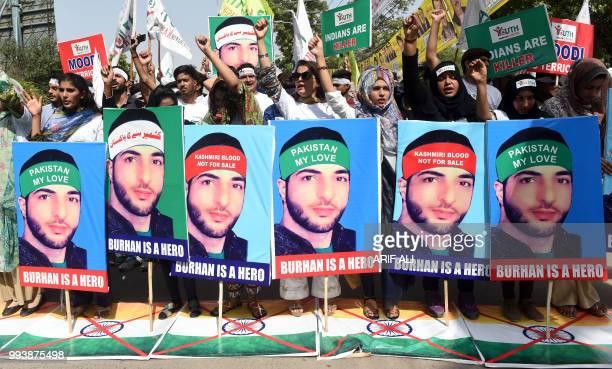 Pakistani women protest in Lahore on July 8 on the second death anniversary of popular Kashmiri Hizbul Mujahideen commander Burhan Wani Indian...