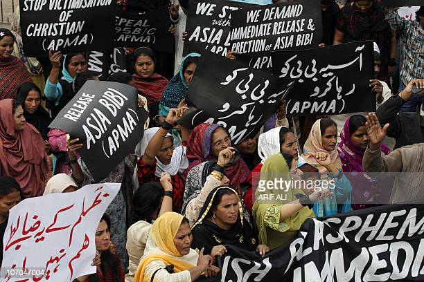 Pakistani women protest in Lahore on November 21 2010 in support of Asia Bibi a Christian mother given the death sentence Asia Bibi was sentenced to...