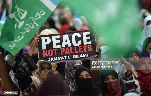 TOPSHOT Pakistani women supporters of an Islamic and political JamaateIslami party gather during a protest rally to mark the Kashmir Solidarity Day...