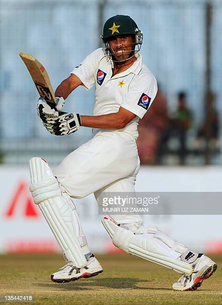Pakistani's batsman Younis Khan plays a shot during the second day of the first cricket Test match between Bangladesh and Pakistan at The Zahur Ahmed...