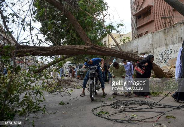 Pakistanis cross a street under a falling tree following an overnight heavy wind storm in Karachi on April 15 2019