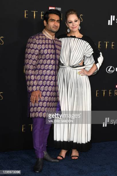 """Pakistani-US actor Kumail Nanjiani and wife US writer Emily V. Gordon arrive for Marvel Studios' """"Eternals"""" premiere at the Dolby theatre in Los..."""