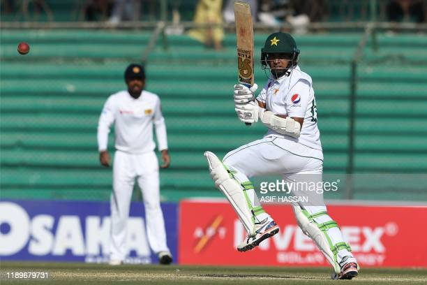 Pakistan's Abid Ali plays a shot during the third day of the second Test cricket match between Pakistan and Sri Lanka at the National Cricket Stadium...