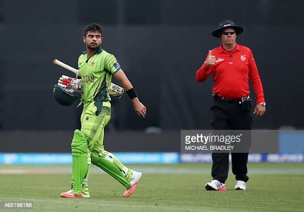Pakistan's Ahmed Shehzad is dismissed for 92 runs during the Pool B Cricket World Cup match between the United Arab Emirates and Pakistan at McLean...