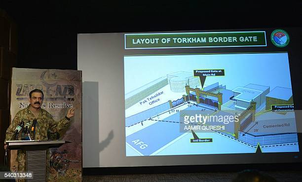 Pakistan's army spokesman Asim Saleem Bajwa addresses media representatives about the details of Torkham border gate in Rawalpindi on June 15 2016...