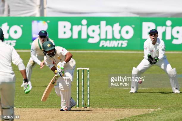 Pakistan's Asad Shafiq plays a shot during play on day two of Ireland's inaugural test match against Pakistan at Malahide cricket club in Dublin on...