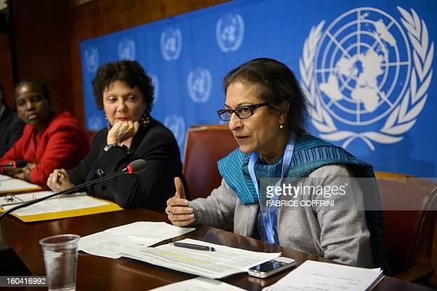 Pakistan's Asma Jahangir gestures next to Christine Chanet of France and Unity Dow of Botswana during a press conference on January 31 2013 on the...