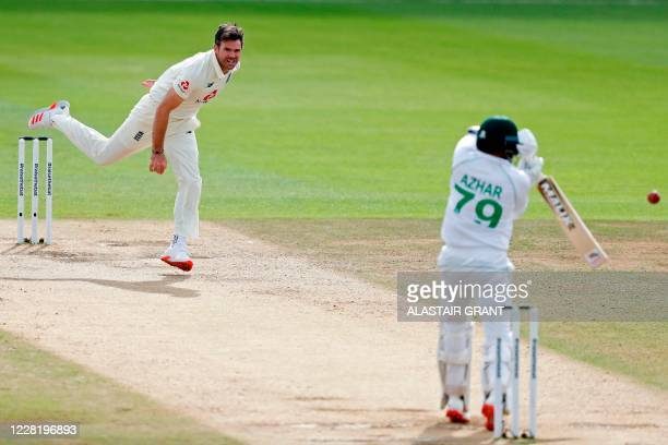 Pakistan's Azhar Ali edges a catch to England's Joe Root in the slips as England's James Anderson takes his 600th test match wicket, on the fifth day...