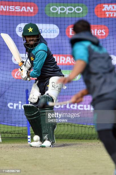 Pakistan's Babar Azam bats in the nets during a practice session in Bristol on June 6 ahead of their 2019 ICC Cricket World Cup match against Sri...