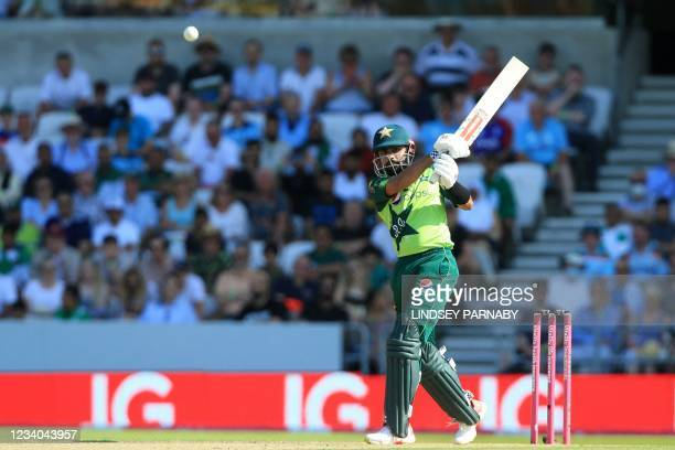 Pakistan's Babar Azam hits a four during the second T20 international cricket match between England and Pakistan at Headingley Cricket Ground in...