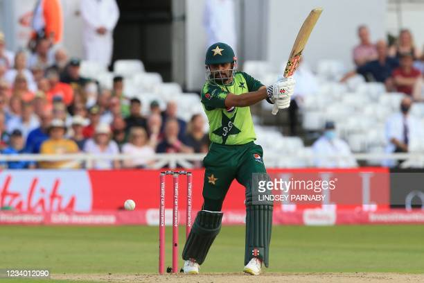 Pakistan's Babar Azam in action during the T20 cricket match between England and Pakistan at Trent Bridge, Nottingham, England on July 16, 2021. -...