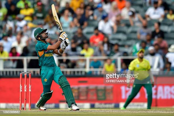 Pakistan's Babar Azam plays a shot before being caught out by South Africa's Junior Dala during the second T20 cricket match between South Africa and...