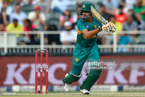 Pakistan's Babar Azam plays a shot during the second T20 cricket match between South Africa and Pakistan at The Wanderers Cricket Stadium in...