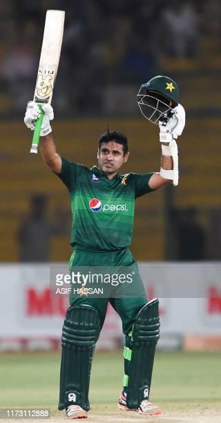 Pakistan's batsman Abid Ali celebrates after scoring 50 runs during the third and final one day international cricket match between Pakistan and Sri...