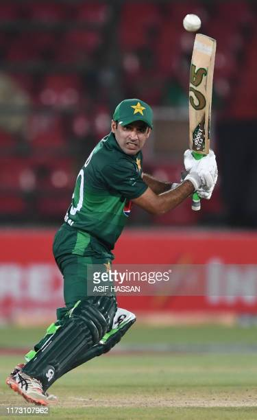 Pakistan's batsman Abid Ali plays a shot during the third and final one day international cricket match between Pakistan and Sri Lanka in Karachi on...