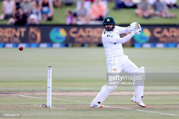 Pakistan's batsman Azhar Ali plays a shot on day one of the second cricket Test match between New Zealand and Pakistan at Hagley Oval in Christchurch...
