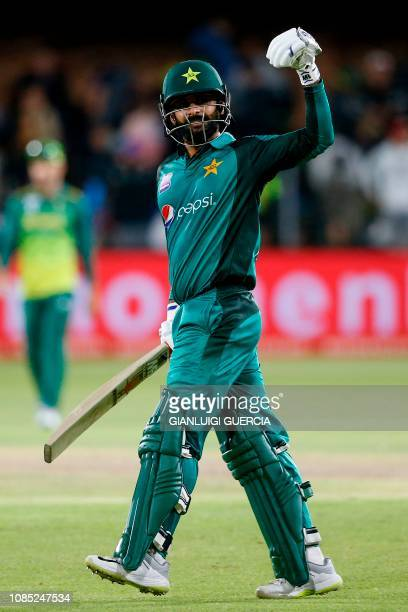 Pakistan's batsman Mohammad Hafeez celebrates his team's victory against South Africa during the first One Day International match between South...