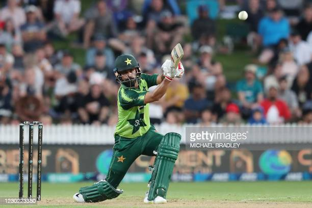 Pakistan's batsman Mohammad Hafeez plays a shot during the second T20 international cricket match between New Zealand and Pakistan at Seddon Park in...