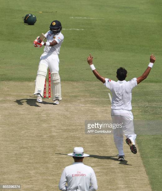 Pakistan's bowler Mohammad Abbas appeals unsuccessfully against Sri Lankan batsman Niroshan Dickwella during the second day of their first Test...