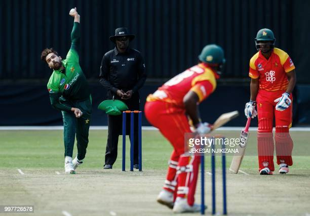 Pakistan's bowler Mohammad Amir delivers the ball during the first one day international cricket match between Pakistan and Zimbabwe at Queens Sports...