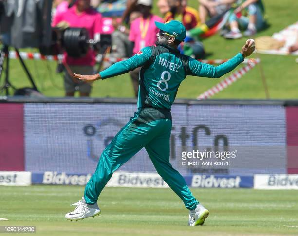 Pakistans bowler Mohammad Hafeez fields during the 4th ODI cricket match between South Africa and Pakistan at the Wanderers cricket stadium on...