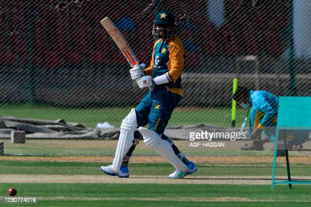 Pakistan's captain Babar Azam attends a practice session at the National Stadiumin Karachi on January 22 ahead of their first cricket test match...