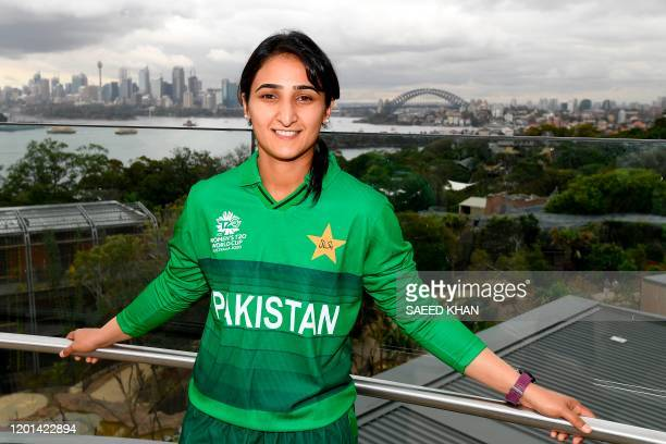 Pakistan's captain Bismah Maroof for the Twenty20 women's World Cup poses for photos at Taronga Zoo in Sydney on February 17 a few days ahead of the...
