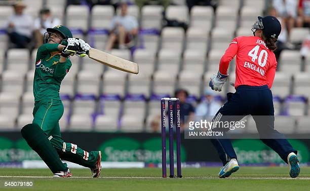 Pakistan's captain Bismah Maroof is caught out by England's wicket keeper Amy Jones during the women's International T20 cricket match between...