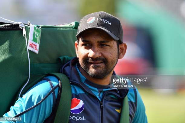 Pakistan's captain Sarfaraz Ahmed walks off the field after a practice session in Bristol on June 6 ahead of their 2019 ICC Cricket World Cup match...