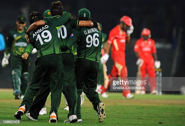 Pakistan's cricket team captain Shahid Afridi celebrates after he dismissed Canada's Harvir Baidwan during the World Cup 2011 tournament match...
