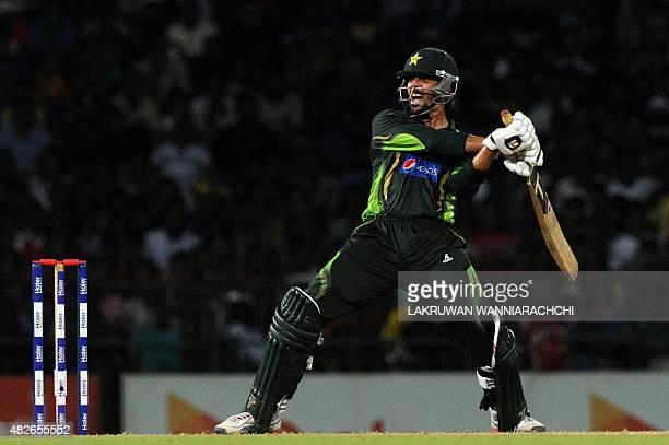 Pakistan's cricketer Anwar Ali plays a shot during the second Twenty 20 International cricket match between Sri Lanka and Pakistan at the R Premadasa...